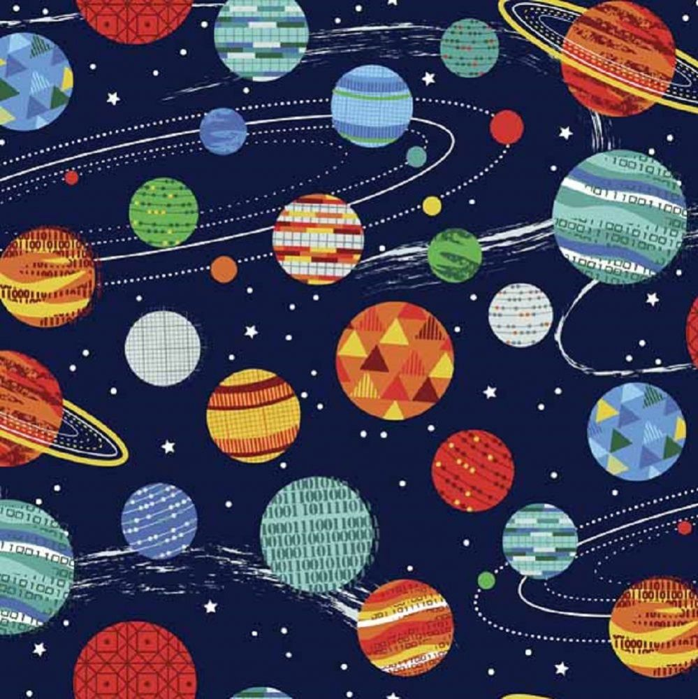 Makower - Galaxy,  Planets - Blue Cotton Patchwork Fabric